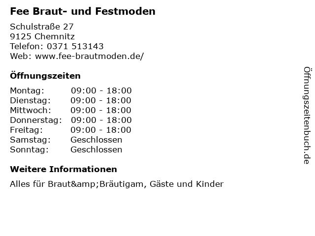 Fee Braut- und Festmoden in Chemnitz: Adresse und Öffnungszeiten
