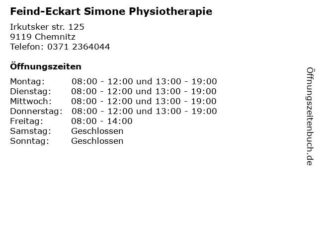 Feind-Eckart Simone Physiotherapie in Chemnitz: Adresse und Öffnungszeiten