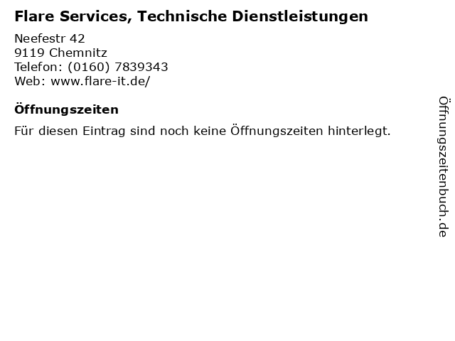 Flare Services, Technische Dienstleistungen in Chemnitz: Adresse und Öffnungszeiten