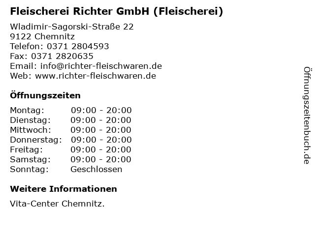 Fleischerei Richter GmbH (Fleischerei) in Chemnitz: Adresse und Öffnungszeiten