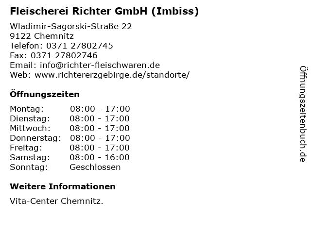 Fleischerei Richter GmbH (Imbiss) in Chemnitz: Adresse und Öffnungszeiten