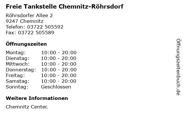 Freie Tankstelle Chemnitz-Röhrsdorf in Chemnitz: Adresse und Öffnungszeiten