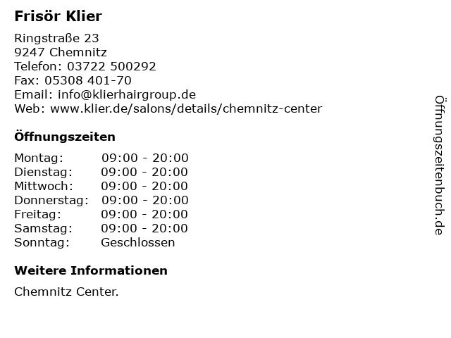 Frisör Klier GmbH in Chemnitz: Adresse und Öffnungszeiten