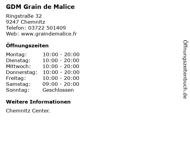 GDM Grain de Malice in Chemnitz: Adresse und Öffnungszeiten