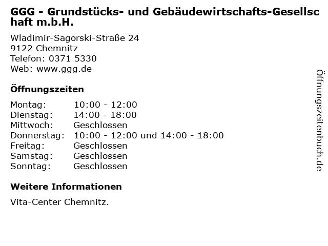 GGG - Grundstücks- und Gebäudewirtschafts-Gesellschaft m.b.H. in Chemnitz: Adresse und Öffnungszeiten