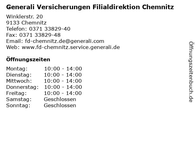 ᐅ Offnungszeiten Generali Versicherungen Filialdirektion Chemnitz