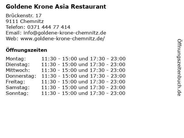Goldene Krone Asia Restaurant in Chemnitz: Adresse und Öffnungszeiten