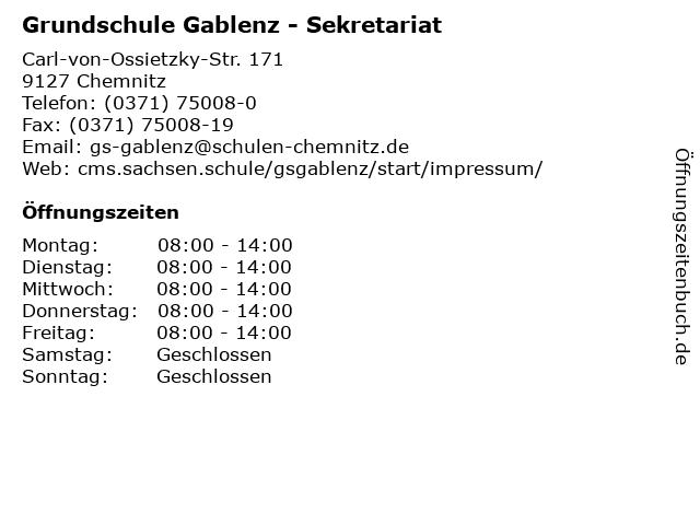 Grundschule Gablenz - Sekretariat in Chemnitz: Adresse und Öffnungszeiten