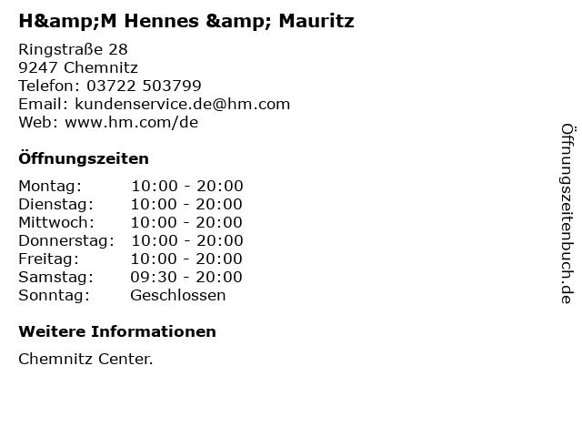 H&M Hennes & Mauritz in Chemnitz: Adresse und Öffnungszeiten
