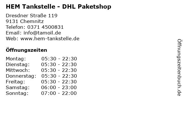 HEM Tankstelle - DHL Paketshop in Chemnitz: Adresse und Öffnungszeiten