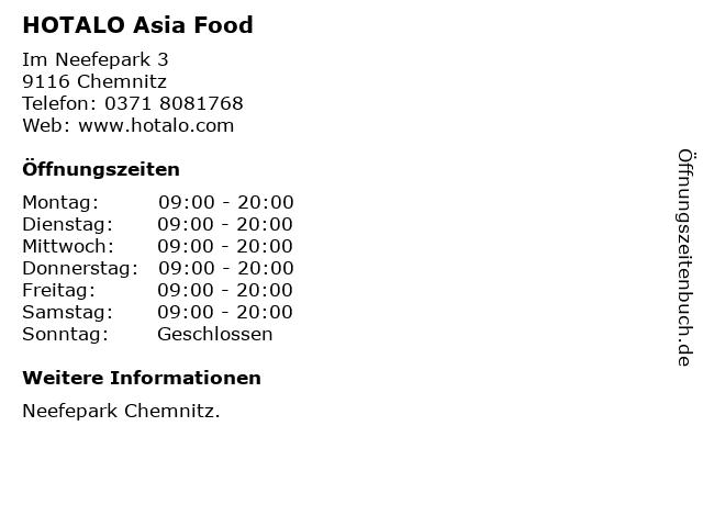 HOTALO Asia Food in Chemnitz: Adresse und Öffnungszeiten