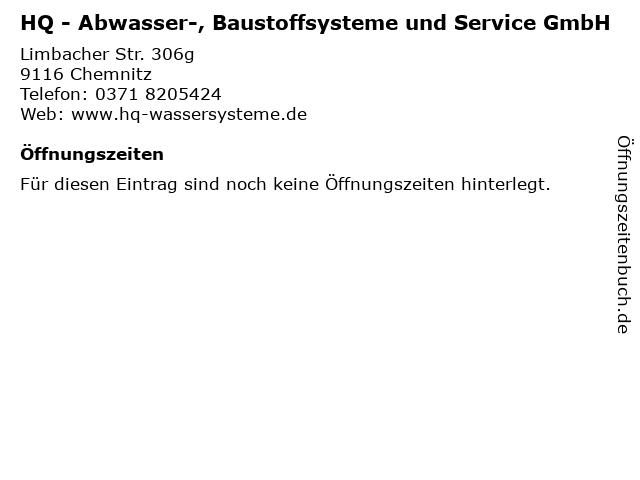HQ - Abwasser-, Baustoffsysteme und Service GmbH in Chemnitz: Adresse und Öffnungszeiten