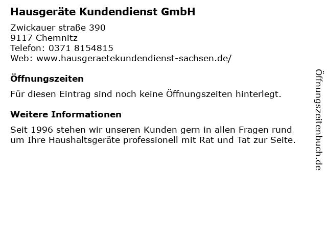 Hausgeräte Kundendienst GmbH in Chemnitz: Adresse und Öffnungszeiten