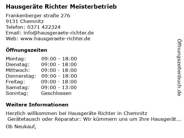Hausgeräte Richter - Mike Richter - Meisterbetrieb Einzelunternehmer in Chemnitz: Adresse und Öffnungszeiten
