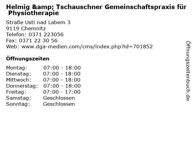 Helmig & Tschauschner Gemeinschaftspraxis für Physiotherapie in Chemnitz: Adresse und Öffnungszeiten