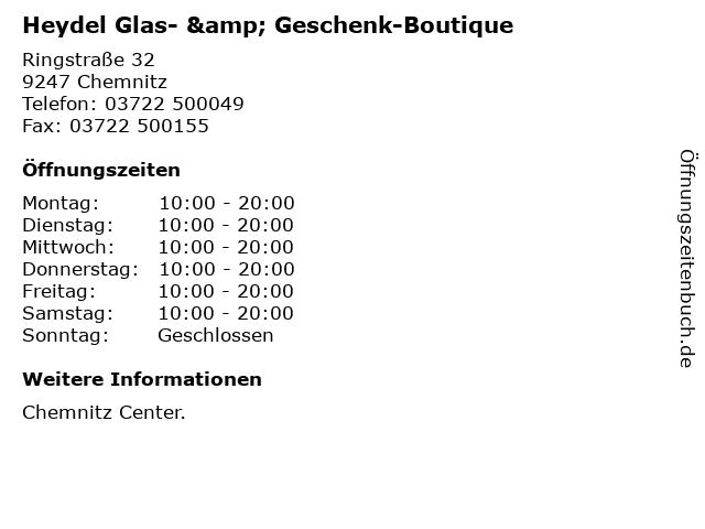 Heydel Glas- & Geschenk-Boutique in Chemnitz: Adresse und Öffnungszeiten