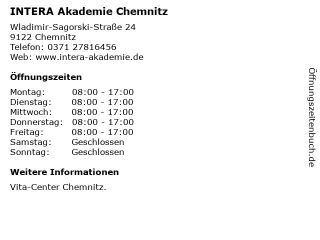 INTERA Akademie Chemnitz in Chemnitz: Adresse und Öffnungszeiten