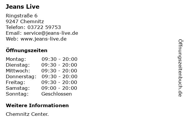 Jeans Live in Chemnitz: Adresse und Öffnungszeiten