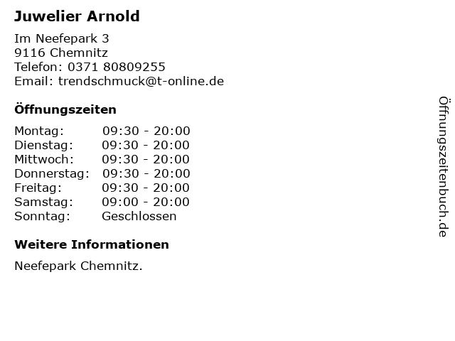 Juwelier Arnold in Chemnitz: Adresse und Öffnungszeiten