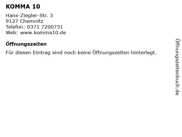 KOMMA 10 in Chemnitz: Adresse und Öffnungszeiten