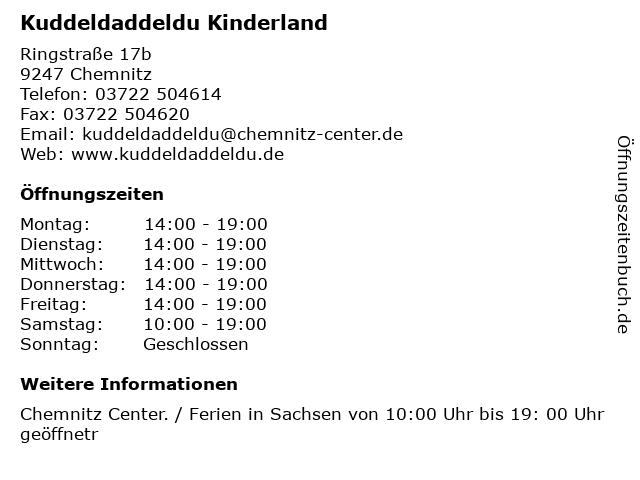 Kuddeldaddeldu Kinderland in Chemnitz: Adresse und Öffnungszeiten