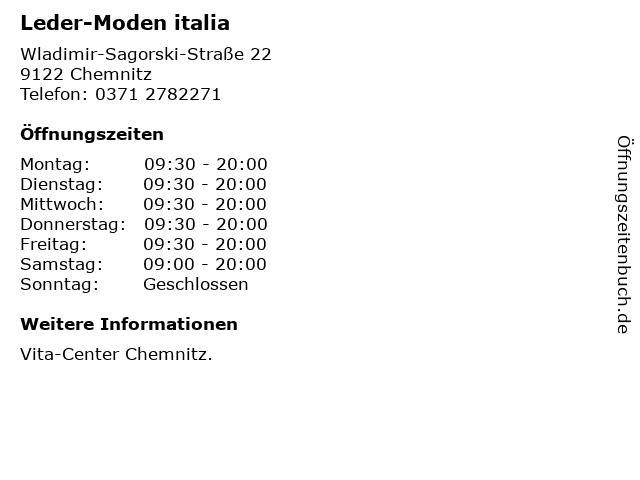 Leder-Moden italia in Chemnitz: Adresse und Öffnungszeiten