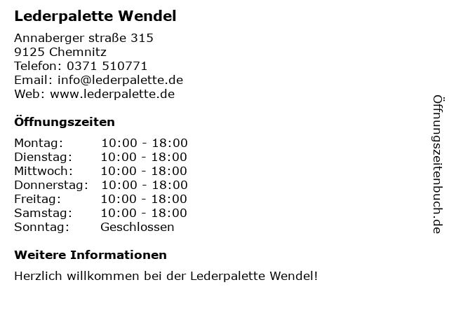 Lederpalette Wendel in Chemnitz: Adresse und Öffnungszeiten