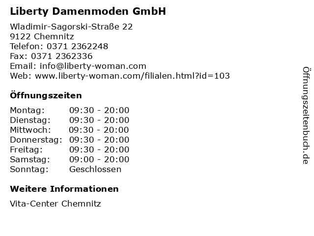 Liberty Damenmoden GmbH in Chemnitz: Adresse und Öffnungszeiten