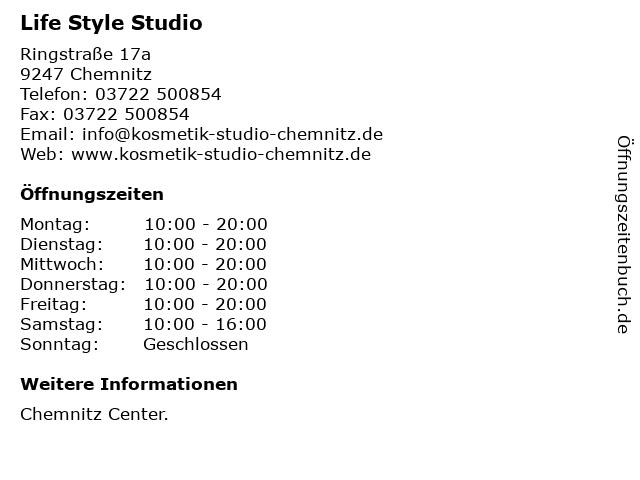 Life Style Studio in Chemnitz: Adresse und Öffnungszeiten