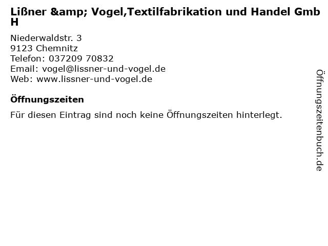 Lißner & Vogel,Textilfabrikation und Handel GmbH in Chemnitz: Adresse und Öffnungszeiten