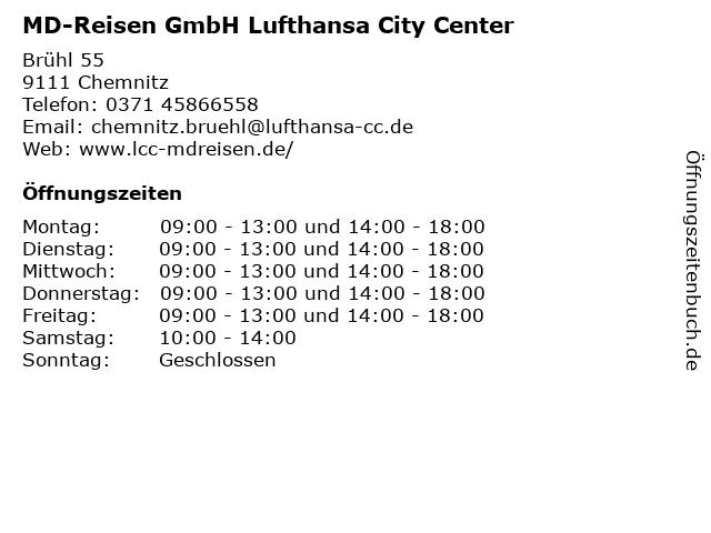 MD-Reisen GmbH Lufthansa City Center in Chemnitz: Adresse und Öffnungszeiten