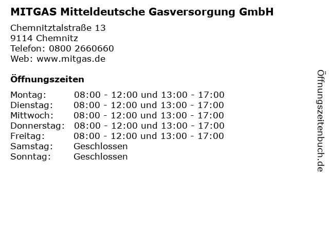 MITGAS Mitteldeutsche Gasversorgung GmbH in Chemnitz: Adresse und Öffnungszeiten