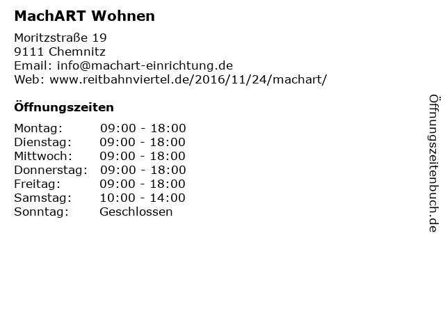 MachART Wohnen in Chemnitz: Adresse und Öffnungszeiten