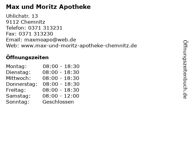 Max und Moritz Apotheke in Chemnitz: Adresse und Öffnungszeiten