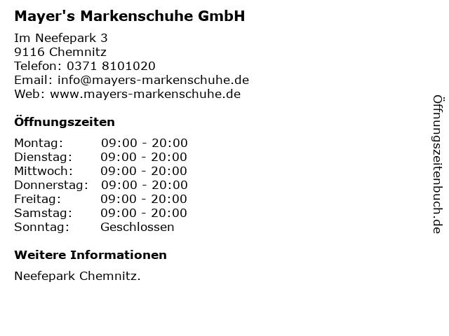 Mayer's Markenschuhe GmbH in Chemnitz: Adresse und Öffnungszeiten