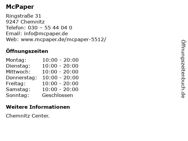 McPaper AG - Deutsche Post Filiale in Chemnitz: Adresse und Öffnungszeiten