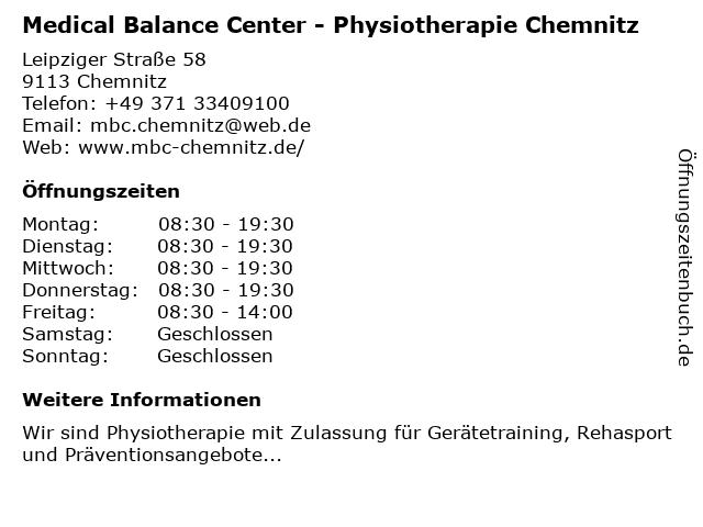 Medical Balance Center - Physiotherapie Chemnitz in Chemnitz: Adresse und Öffnungszeiten