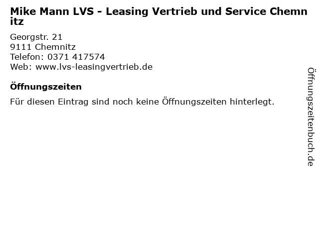 Mike Mann LVS - Leasing Vertrieb und Service Chemnitz in Chemnitz: Adresse und Öffnungszeiten