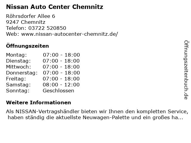 Nissan Auto Center Chemnitz in Chemnitz: Adresse und Öffnungszeiten