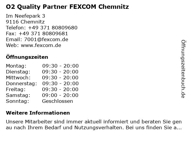 O2 Quality Partner FEXCOM Chemnitz in Chemnitz: Adresse und Öffnungszeiten