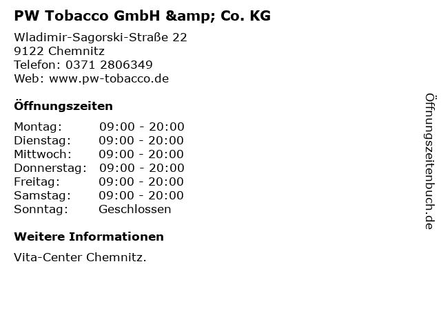 PW Tobacco GmbH & Co. KG in Chemnitz: Adresse und Öffnungszeiten