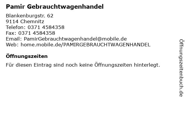 Pamir Gebrauchtwagenhandel in Chemnitz: Adresse und Öffnungszeiten