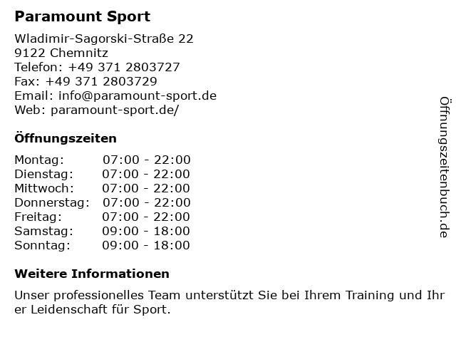 Paramount Sport in Chemnitz: Adresse und Öffnungszeiten