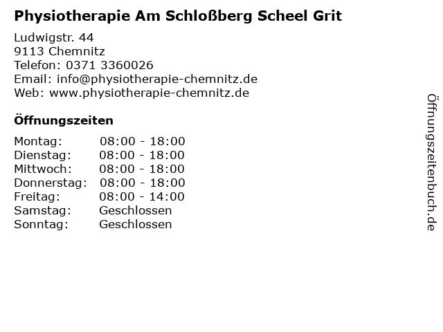 Physiotherapie Am Schloßberg Scheel Grit in Chemnitz: Adresse und Öffnungszeiten