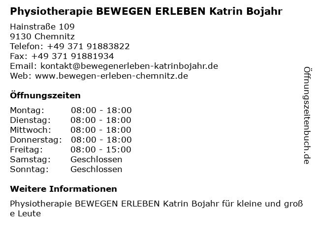 Physiotherapie BEWEGEN ERLEBEN Katrin Bojahr in Chemnitz: Adresse und Öffnungszeiten
