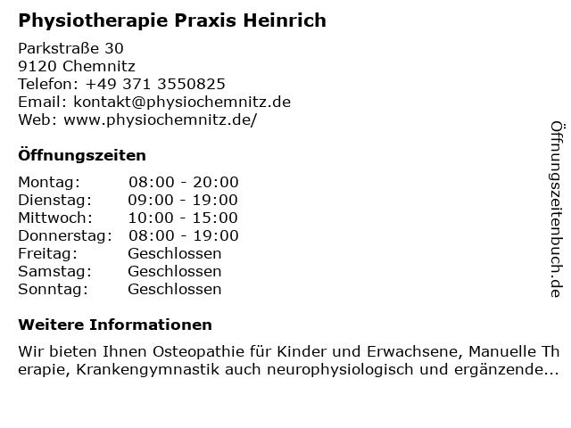 Physiotherapie Praxis Heinrich in Chemnitz: Adresse und Öffnungszeiten