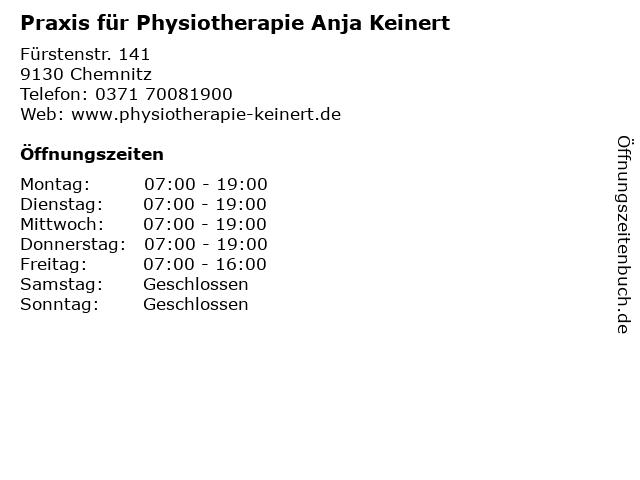 Praxis für Physiotherapie Anja Keinert in Chemnitz: Adresse und Öffnungszeiten
