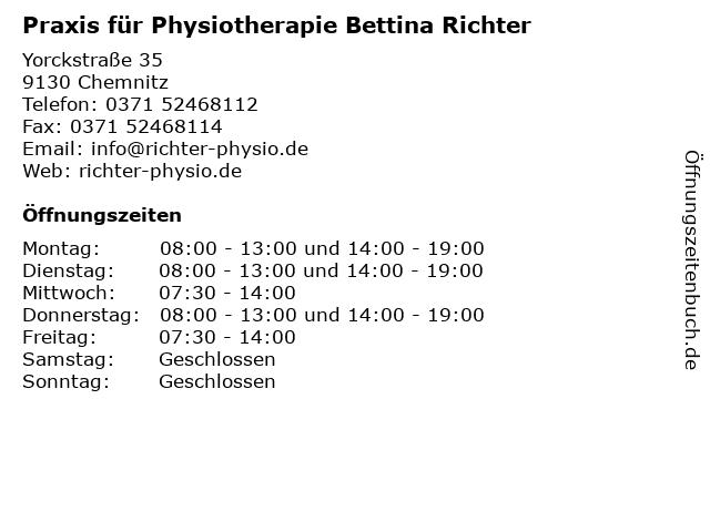 Praxis für Physiotherapie Bettina Richter in Chemnitz: Adresse und Öffnungszeiten