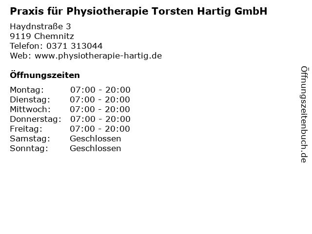 Praxis für Physiotherapie Torsten Hartig GmbH in Chemnitz: Adresse und Öffnungszeiten