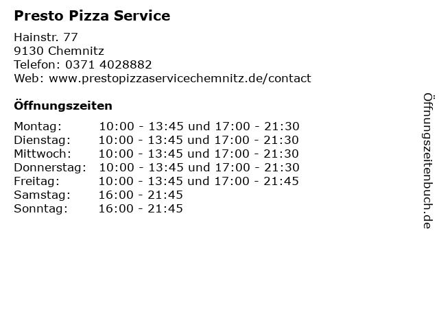 Presto Pizza Service in Chemnitz: Adresse und Öffnungszeiten